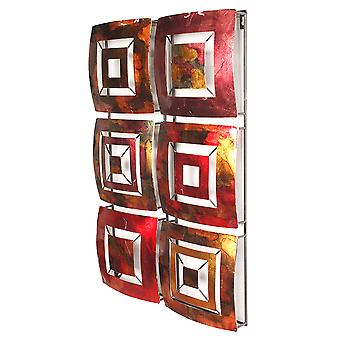 Vertical 6-Panel Metal Wall Decor - Metal, Lacquered In Gold, Red, Burgundy And Brown