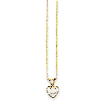 14k Geel Goud gepolijst spring ring 3mm gesimuleerde Opal Love Hart Hanger Ketting Met voor jongens of meisjes keten 15 Inch