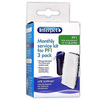 Interpet PF1 Aquarium Power Filter Monthly Service Kit (Pack of 3)