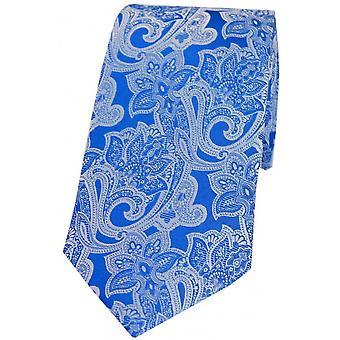 David Van Hagen Edwardian Floral Patterned Silk Tie - Bleu Royal