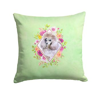 Standard Grey Poodle Green Flowers Fabric Decorative Pillow