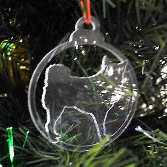犬安物の宝石をクリア アクリル クリスマス装飾 6 個パック - ハスキー