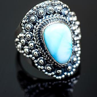 لاريمار رينغ الحجم 7 (925 الجنيه الاسترليني الفضة) -- اليدوية بوهو خمر مجوهرات RING989721