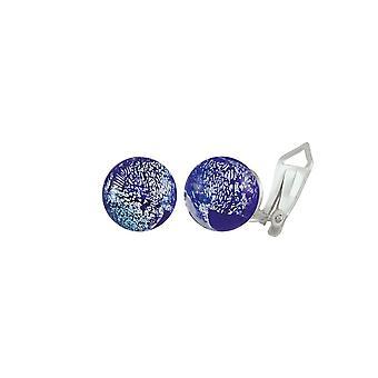 Eternal Collection Bellissimo Cobalt Blue Sparkler Murano Glass Stud Clip On Earrings