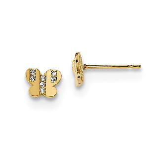 14k Madi K Madi K Kids CZ Zirconia cúbica diamante mariposa ángel alas post pendientes mide 5x6mm de ancho joya