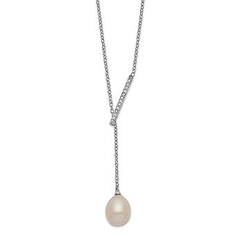 925 Sterling Silver Rhodium plaqué CZ Cubic Zirconia Simulated Diamond Bar Fwc Pearl With 2inch Ext Necklace 16 Inch Jew