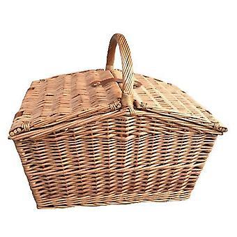 Large Sloped Sided Double Lidded Empty Wicker Basket