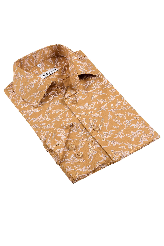 JSS Patterned Mustard Regular Fit 100% Cotton Shirt