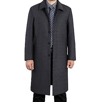 Allthemen Men's Solid Long Lapel Wool Autumn&Winter Overcoat