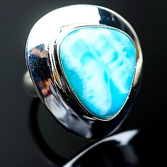 Large Larimar Ring Size 6.25 (925 Sterling Silver)  - Handmade Boho Vintage Jewelry RING994888