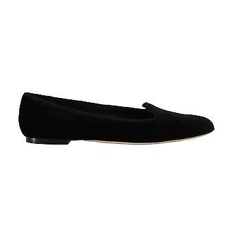 Dolce & Gabbana Black Velvet Leather Ballet Flats