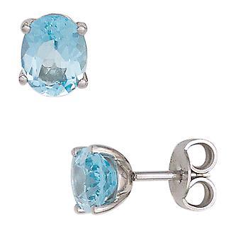 Earrings blue 585 Gold White Gold 2 Blue Topaz gold earrings