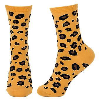 Women's Leopard All Over Print Novelty Crew Socks