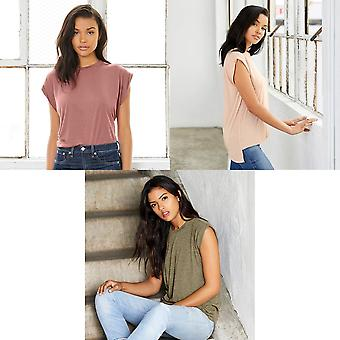 Bella + Canvas Womens/Ladies Flowy Rolled Cuff Muscle T-Shirt