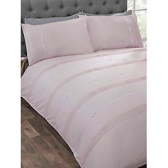 Funda de edredón Clarissa y juego de camas de funda de almohada - Individual, Blush
