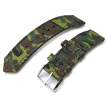 Strapcode fabric watch strap 20mm, 21mm or 22mm miltat ww2 2-piece erdl camouflage canvas watch band with lockstitch round hole, polished