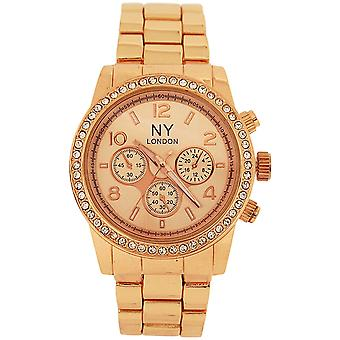 Prince London Rose Goldtone Crystal Chrono Effect Mens Metal Bracelet Watch PI-7010