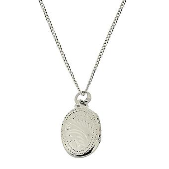 """Das Olivia Collection Sterling Silber 20mm Oval graviert Medaillon auf 18"""" Kette"""