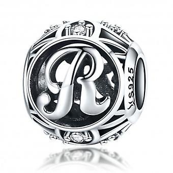 Sterling Silver Alfabetet Charm med Zirconia Stones Brev R - 5750