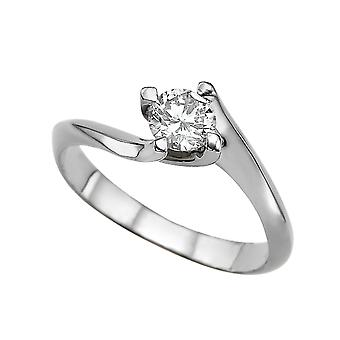 0.60 CT 5.50MM Forever One Moissanite Engagement Ring 14K White Gold 4 Prongs Twist Round