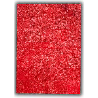 Rugs -Patchwork Leather Cubed Cowhide - Croco Red DE62