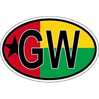 عصا ملصقا البيضاوي العلم البيضاوي رمز البلد GW guinee بيساو