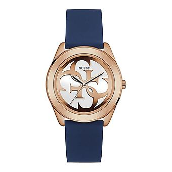 Guess Watches Guess Ladies Rose Gold Watch White Logo Dial And Blue Silicone Strap W0911L6