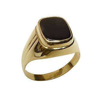 Gold cachet ring with black layer stone