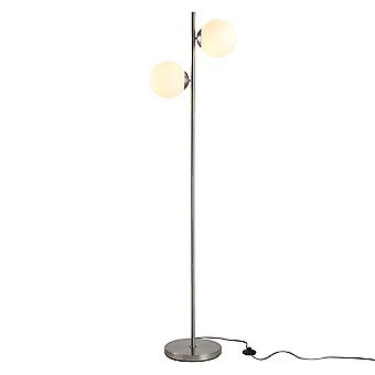 HOMCOM 2 Glass Shade Floor Lamp Metal Pole Cool Modern Decorative w/ Floor Switch Home Office Furnishing Silver