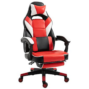 Vinsetto Cool & Stylish Gaming Chair Ergonomic w/ Thick Padding Footrest Neck & Back Pillow 5 Wheels Racing Swivel Height Adjustable Home Office Red