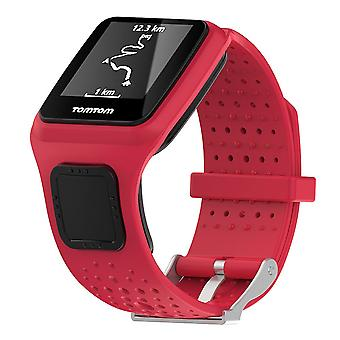 For TomTom Multi-Sport Replacement Wristband Bracelet Strap Band Metal Buckle[Red]