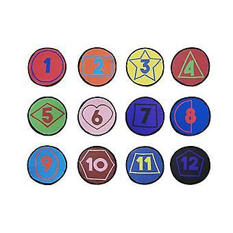 أرقام ألوان الأشكال مجموعة من 12 الحصى الجلوس