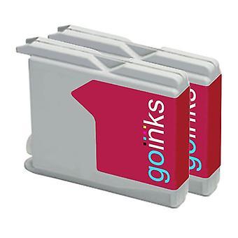 2 Cartuchos de tinta Magenta para substituir irmão LC970M & LC1000M Compatível/não-OEM por Go Inks