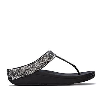 Women's Fit Flop Fino Quartz Toe Thong Sandals in Black