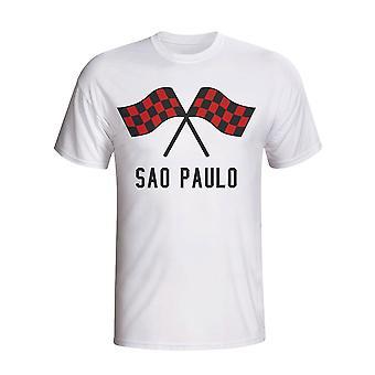 Sao Paolo agitando banderas camiseta (blanco) - niños