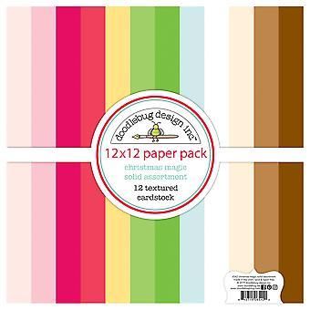 Doodlebug Design Christmas Magic 12x12 Inch Textured Cardstock Paper Pack