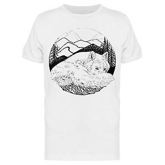 Wolf And Mountains Sketch Tee Miehet&s -Kuva Shutterstock