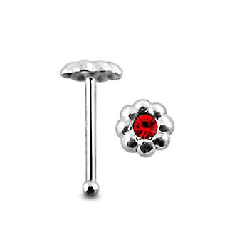 Jeweled Emboss Flower Ball End Nose Pin