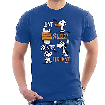 Peanuts Eat Sleep Scare Repeat Halloween Men's T-Shirt