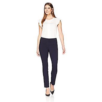 Lark & Ro Women's Slim Leg Stretch Pant: Comfort Fit, Navy, 6S