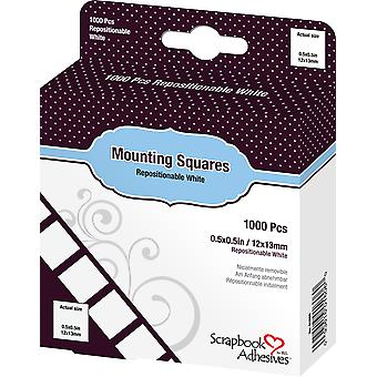 Scrapbook Adhesives Mounting Squares Repositionable White (1000pcs) (01606)