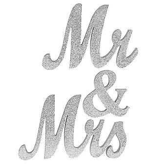 Mr&Mrs Sign Rustic Wood Home Decorations Silver