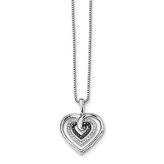 925 Sterling Zilver gepolijst Prong set Open back Gift Boxed Spring Ring Rhodium verguld zwart en wit Diamond Love Hear