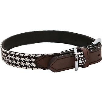 Wag N Walk Designer Collar Houndstooth - Brown - 8-12 inch