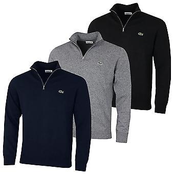 Lacoste Mens Trucker Style Bio Baumwolle gerippte Manschetten 1/4 Zip Pullover