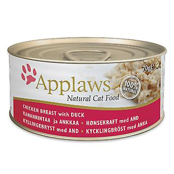 24 x 70g Applaws Natural Cat Wet Food Chicken Duck Meat Natuurlijke Pet Snack