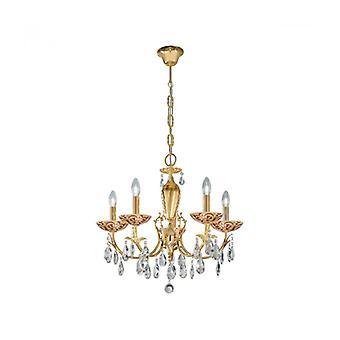 Victoria 2 Crystal Kroonluchter 24k Gold 5 Bollen Toscana Goud / Rood