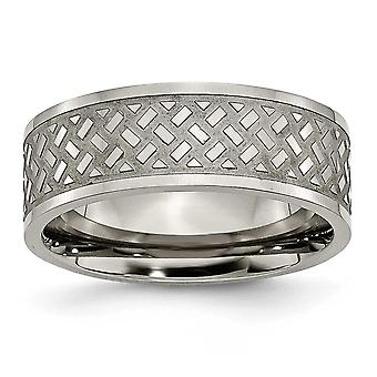 Titanium Engravable Weave Design 8mm Polished Band Ring  Jewelry Gifts for Women - Ring Size: 6 to 14