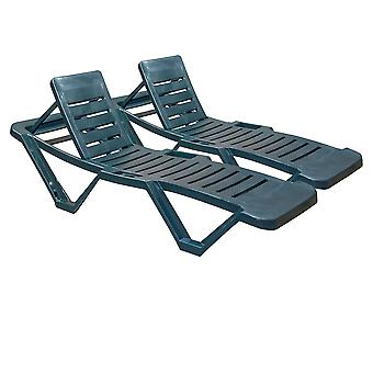 Resol Master Garden Sun Lounger Bed - Adjustable Reclining Outdoor Summer Furniture - Green - Pack of 2