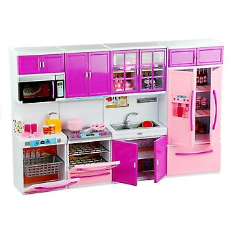Puppen-Küchenmöbel AGD Essen Rosa & Lila